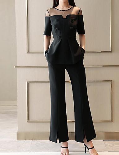 billige Dametopper-Dame Arbeid Gatemote / Sofistikert Store størrelser Bluse / Sett Bukse - Netting / Bred Bukseben, Ensfarget / Sommer / Sexy
