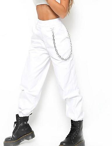 abordables Pantalons Femme-Femme Punk & Gothique Fin de semaine Chino Pantalon - Couleur Pleine Noir Blanche Vert Véronèse S M L