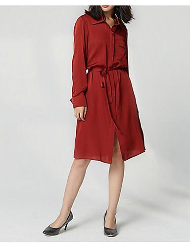 Žene Elegantno Puff rukav Shift Haljina - Rese, Jednobojni Iznad koljena Crno-crvena