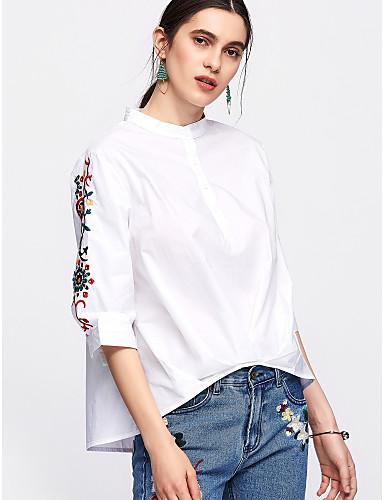 abordables Camisas y Camisetas para Mujer-Mujer Básico Algodón Camisa, Cuello Barco Un Color / Floral Azul Piscina Tamaño Único / Verano