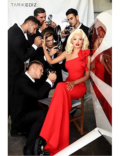 Kroj uz tijelo Na jedno rame Do poda Šifon Formalna večer Haljina s Aplikacije po TS Couture®