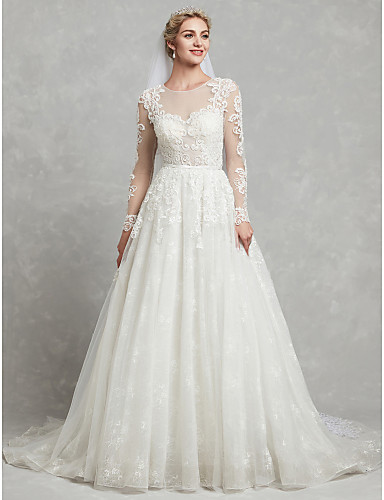 744b9c8f616 A-Line Jewel Neck Chapel Train Lace   Tulle Made-To-Measure Wedding Dresses  with Appliques   Lace by LAN TING BRIDE®