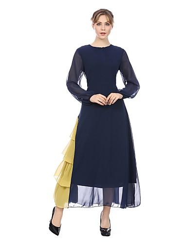 abordables Robes Femme-Femme Basique Midi Abaya Robe - Mosaïque Eté Bleu Noir M L XL Manches Longues