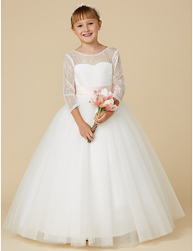 f840f9ce3db Ball Gown Floor Length Flower Girl Dress - Lace   Tulle Long Sleeve Jewel  Neck with Bow(s)   Sash   Ribbon by LAN TING BRIDE®