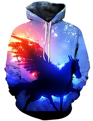 cheap Hoodies & Sweaters-Men's Plus Size Active / Exaggerated Long Sleeve Loose Hoodie - 3D / Cartoon Print Hooded Blue 4XL / Fall / Winter