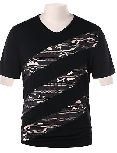 男性用 Tシャツ ストリートファッション Vネック カモフラージュ ブラック L / 半袖
