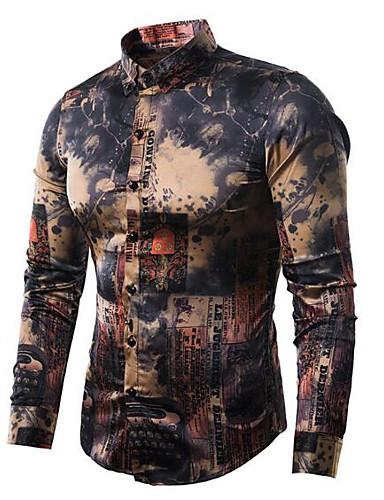 abordables Camisas de Hombre-Hombre Vintage / Activo Estampado Camisa Delgado Geométrico Marrón claro M / Manga Larga