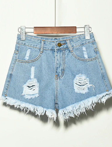 abordables Pantalons Femme-Femme Grandes Tailles Quotidien Short Pantalon - Couleur Pleine Franges / Troué Lin Noir Gris Bleu clair XXXXL XXXXXL XXXXXXL
