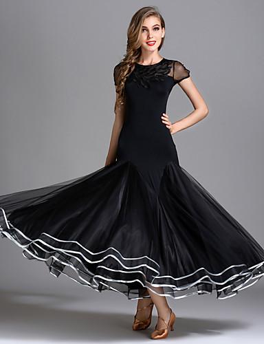 31ab772a1cc9 Ballroom Dance Dresses Women's Performance Senior Emulation Silk / Tulle /  Ice Silk Draping Short Sleeve High Dress