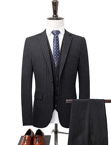 odijela Veći konfekcijski brojevi Muškarci Prugasti uzorak,Zašiljeni rever / Dugih rukava