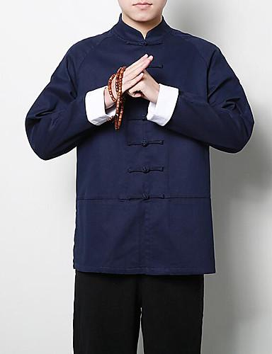 Veći konfekcijski brojevi Majica Muškarci - Ulični šik Dnevno Lan Jednobojni / Ruska kragna  / Dugih rukava