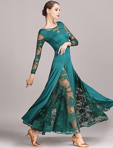 cheap Ballroom Dancewear-Ballroom Dance Dresses Women's Performance Lace / Milk Fiber Lace Long Sleeve Natural Dress