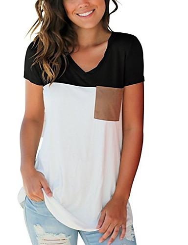 Majica s rukavima Žene Dnevno Pamuk Jednobojni / Color block V izrez Kolaž