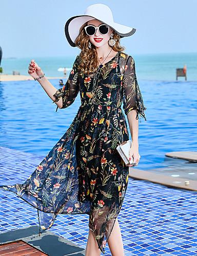 abordables Robes Femme-Femme Sortie Basique / Elégant Midi Mousseline de Soie Robe Fleur Eté Noir XL XXL XXXL Soie Demi Manches