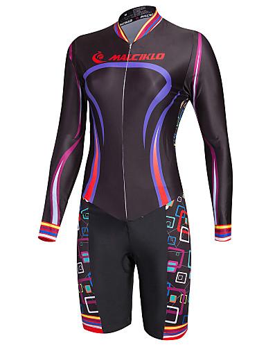 cheap Cycling Clothing-Malciklo Women's Long Sleeve Triathlon Tri Suit - Black Bike Breathable Quick Dry Winter Sports Coolmax® Lycra Geometry Triathlon Clothing Apparel / High Elasticity / Advanced / Advanced / SBS Zipper