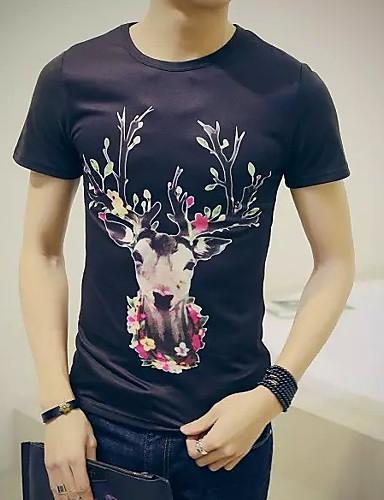 Majica s rukavima Muškarci Dnevno Pamuk / Lan Geometrijski oblici / Životinja Okrugli izrez / Kratkih rukava