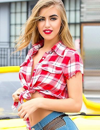 billige Topper til damer-Tynn / Løstsittende Skjortekrage Skjorte Dame - Ruter, Racerrygg Aktiv / Grunnleggende Ut på byen / Klubb Blå En Størrelse / Sexy