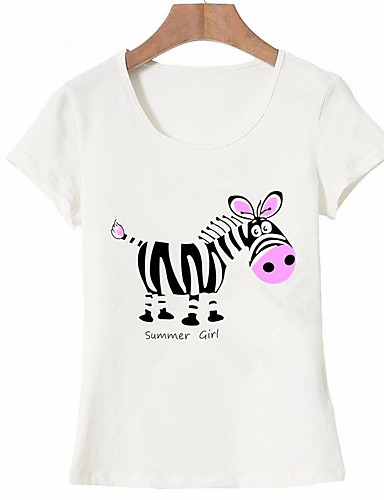 billige Dametopper-Bomull T-skjorte Dame - Dyr / Bokstaver, Trykt mønster Grunnleggende Ut på byen Hvit L
