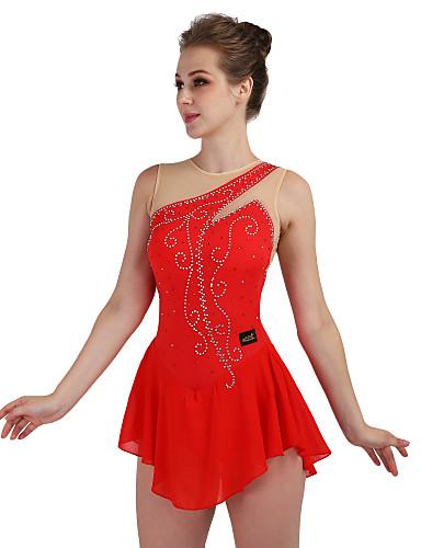 Vestidos para Patinação Artística Mulheres / Para Meninas Patinação no Gelo Vestidos Vermelho Pedrarias / Lantejoulas Elasticidade Alta