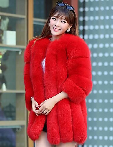 acc0cf9ce2e Women s Daily Basic Fall   Winter Long Fur Coat