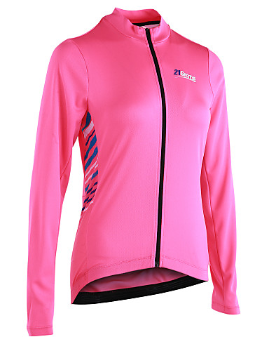 cheap Cycling Clothing-21Grams Women's Long Sleeve Cycling Jersey - Pink Stripe Bike Jersey, Reflective Strips Back Pocket 100% Polyester / Micro-elastic / Advanced / YKK Zipper / Italy Imported Ink