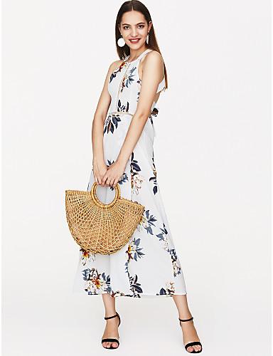 voordelige Maxi-jurken-Dames Feestdagen Jurk - Bloemen, Blote rug Print Bandje Maxi