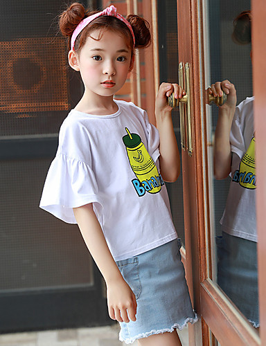 Infantil Para Meninas Vintage Sólido Manga Curta Blusa Branco
