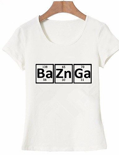billige Dametopper-Bomull T-skjorte Dame - Bokstaver, Trykt mønster Grunnleggende Ut på byen Hvit L