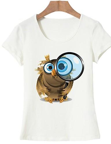 abordables Camisas y Camisetas para Mujer-Mujer Básico Noche Estampado - Algodón Camiseta Animal Blanco L