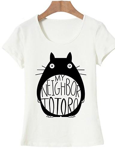 billige Topper til damer-Bomull T-skjorte Dame - Dyr, Trykt mønster Grunnleggende Ut på byen Hvit L