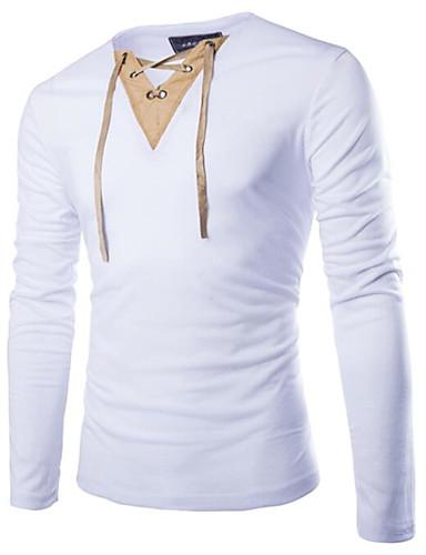 V-hals Herre - Farveblok T-shirt Sort L / Langærmet
