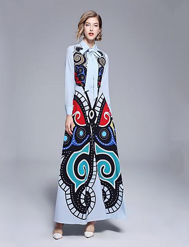 Mujer Elegante Delgado Corte Swing Vestido - Estampado, Floral Maxi Cuello Camisero