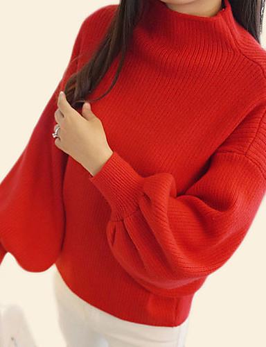 voordelige Kerstwinkel-Dames Dagelijks Standaard Effen Lange mouw Normaal Pullover, Ronde hals Herfst Rood / Grijs / Khaki Een maat