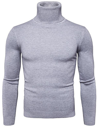 cheap Men's Sweaters & Cardigans-Men's Going out Solid Colored Long Sleeve Regular Pullover, Turtleneck Navy Blue / Yellow / Light gray L / XL / XXL