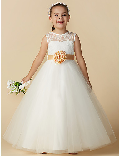31a70ef338437 Princess Ankle Length Flower Girl Dress - Lace   Tulle Sleeveless Jewel  Neck with Bow(s)   Sash   Ribbon   Flower by LAN TING BRIDE®