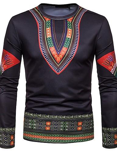 voordelige Uitverkoop-Heren Vintage / Boho Print T-shirt Katoen Tribal Zwart / Lange mouw