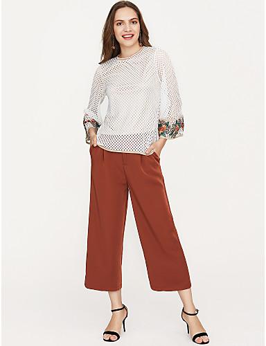 billige Dametopper-T-skjorte Dame - Ensfarget, Broderi Grunnleggende Hvit / Sommer