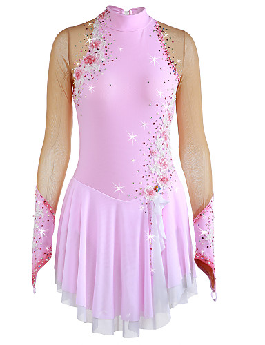 Figure Skating Dress Women's / Girls' Ice Skating Dress Pale Pink Flower Spandex High Elasticity Competition Skating Wear Handmade Jeweled / Rhinestone Long Sleeve Ice Skating / Figure Skating