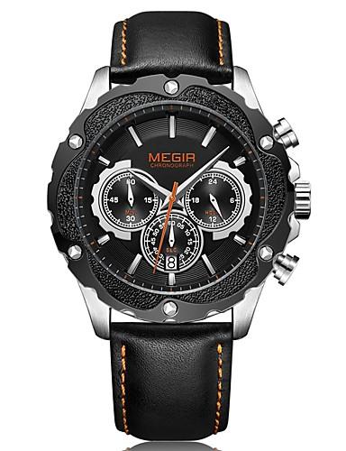 MEGIR Pánské Sportovní hodinky Hodinky k šatům japonština Křemenný Pravá  kůže Černá 30 m Voděodolné Kalendář 25132ff1dc7