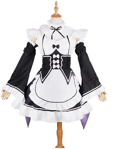 """billige Anime Kostymer-Inspirert av Re: Zero - Start livet i en annen verden Stuepike Kostumer / Rem / Ram Anime  """"Cosplay-kostymer"""" Cosplay Klær Blonder Langermet Halsklut / Kjole / Ermer Til Jente"""