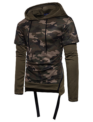男性用 Tシャツ ベーシック フード付き スリム カモフラージュ コットン ブラック L / 長袖