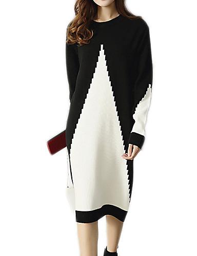 abordables Robes Femme-Femme Basique Mi-long Mince Tricot Robe Couleur Pleine Taille haute Automne Noir Gris L XL XXL Manches Longues