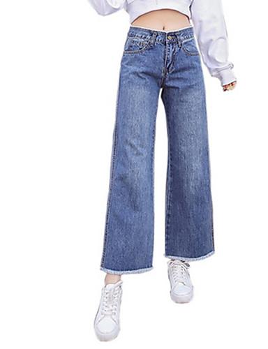 b9169aa792 Mujer Algodón Corte Ancho Perneras anchas   Vaqueros Pantalones - Un Color    A Rayas Borla 6879030 2019 –  23.99