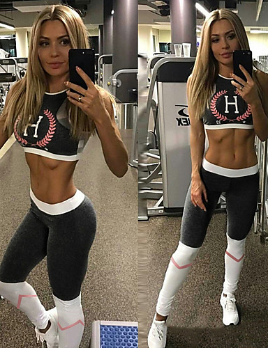 cheap Activewear-Women's Patchwork Tracksuit Yoga Suit Grey Sports Print Mesh Leggings Crop Top Clothing Suit Zumba Running Fitness Sleeveless Activewear Breathable Compression Sweat-wicking High Elasticity Slim