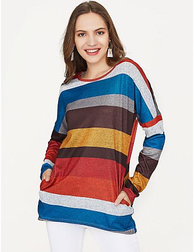 abordables Hauts pour Femmes-Tee-shirt Femme, Rayé - Coton Basique / Blocs de Couleur Vert / Printemps / fines rayures