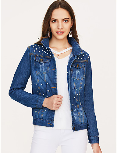 Women's Daily / Going out Spring / Fall Plus Size Short Denim Jacket, Solid Colored Peaked Lapel Long Sleeve Cotton Pure Color Blue XXXL / XXXXL / XXXXXL