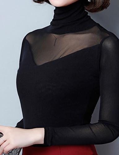 povoljno Ženske majice-Majica s rukavima Žene - Osnovni Dnevno Jednobojni Dolčevita Slim, Mrežica Crn