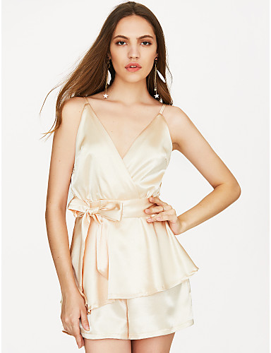 رخيصةأون كنزات نسائية-الصيف بدون كم M L XL لون سادة, ثياب خارجية فضفاضة مستقيم ذهبي منخفضة V رقبة أساسي / أناقة الشارع بقعة نسائي