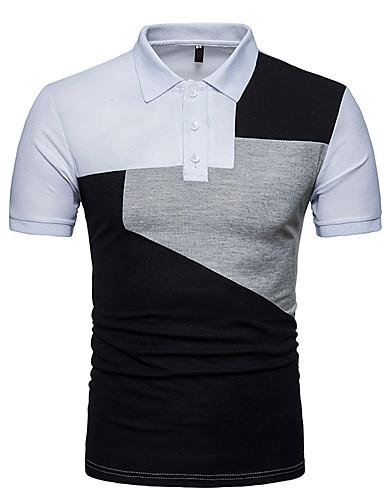 voordelige Herenpolo's-Heren Grote maten - Polo Katoen, Sport Kleurenblok Overhemdkraag Wit / Korte mouw
