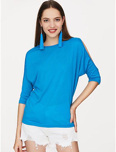 저렴한 여성용 상의-여성용 솔리드 플러스 사이즈 티셔츠 면 블랙 / 컷 아웃